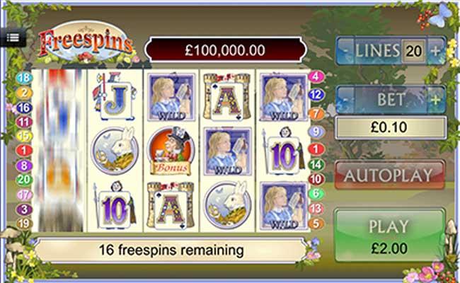 free casino slots alice in wonderland